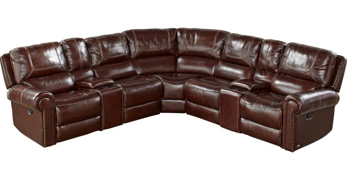 Campania Brown Leather 7 Pc Reclining Sectional - Traditional,