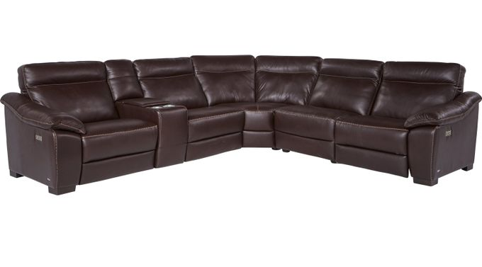 Castellina 6 Pc Brown Leather Power Plus Reclining Sectional - Contemporary,
