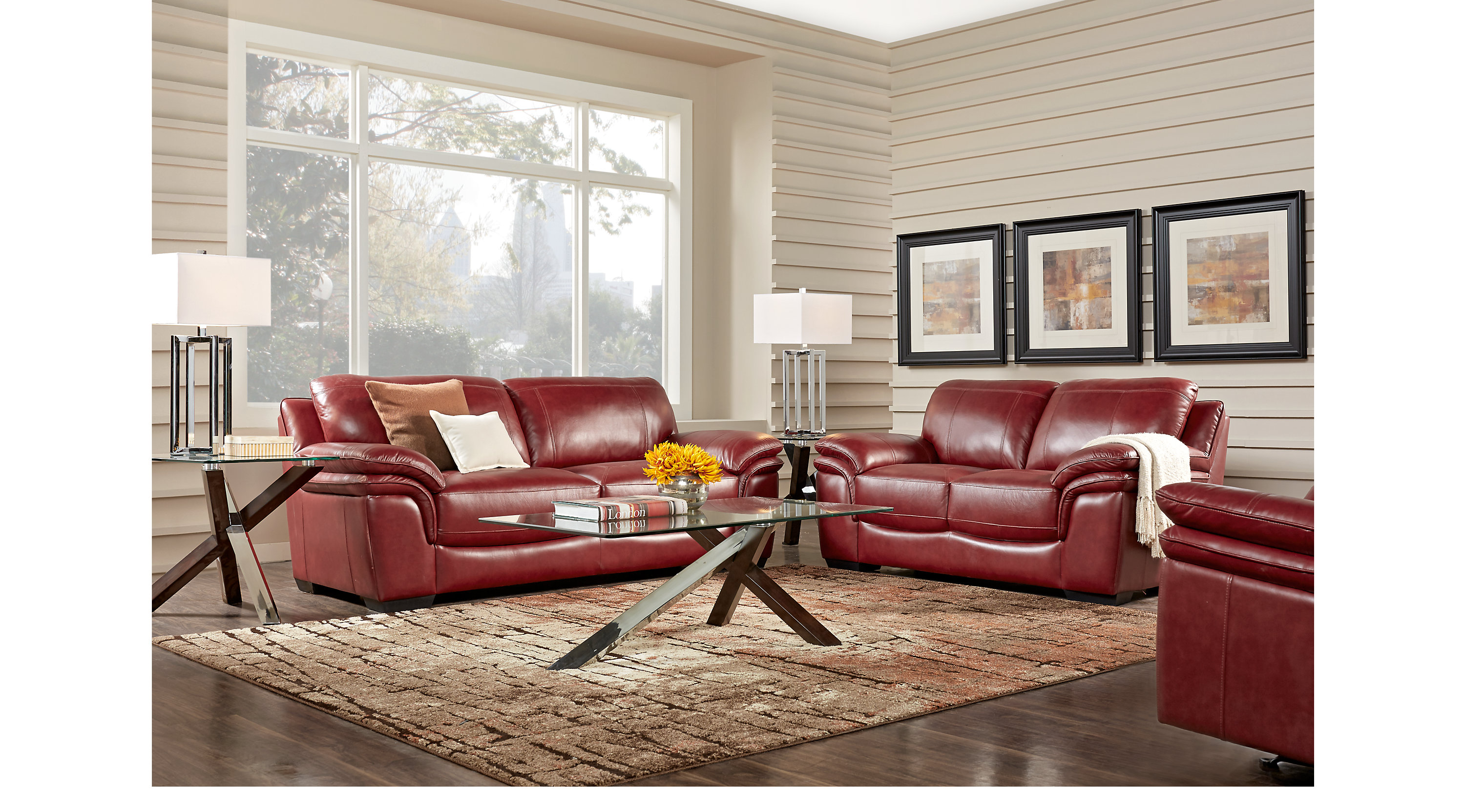 $2,299.99 - Grand Palazzo Red 3 Pc Leather Living Room - Classic ...