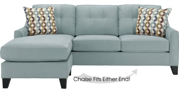 Cindy Crawford Madison Place Hydra (Sky (light blue)  blue)  2Pc Sectional - Contemporary, Microfiber