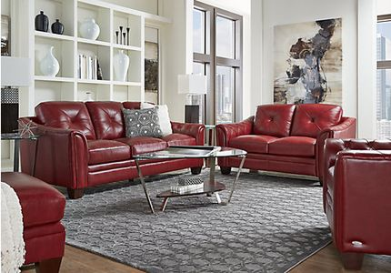 5-Piece Leather Living Room Sets: Sectionals, Sofas, etc.