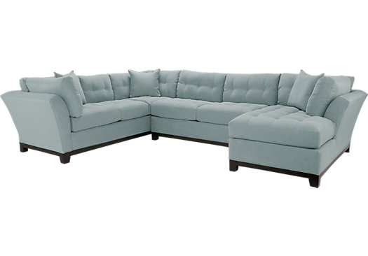 Cindy Crawford Metropolis Hydra 3Pc Sectional (Right) - Contemporary, MicroFiber
