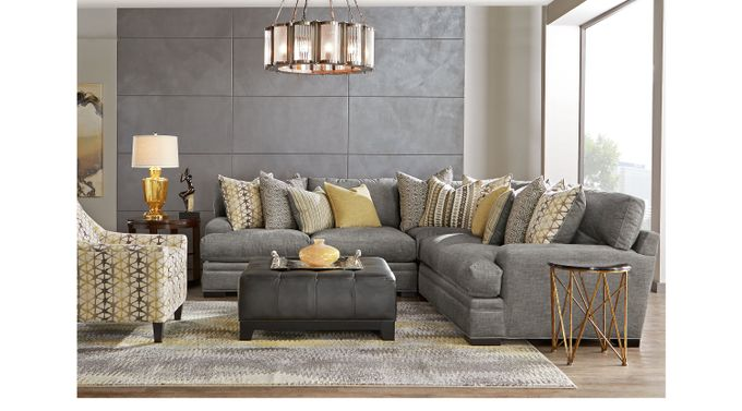 2 599 99 Palm Springs Gray 5 Pc Sectional Living Room