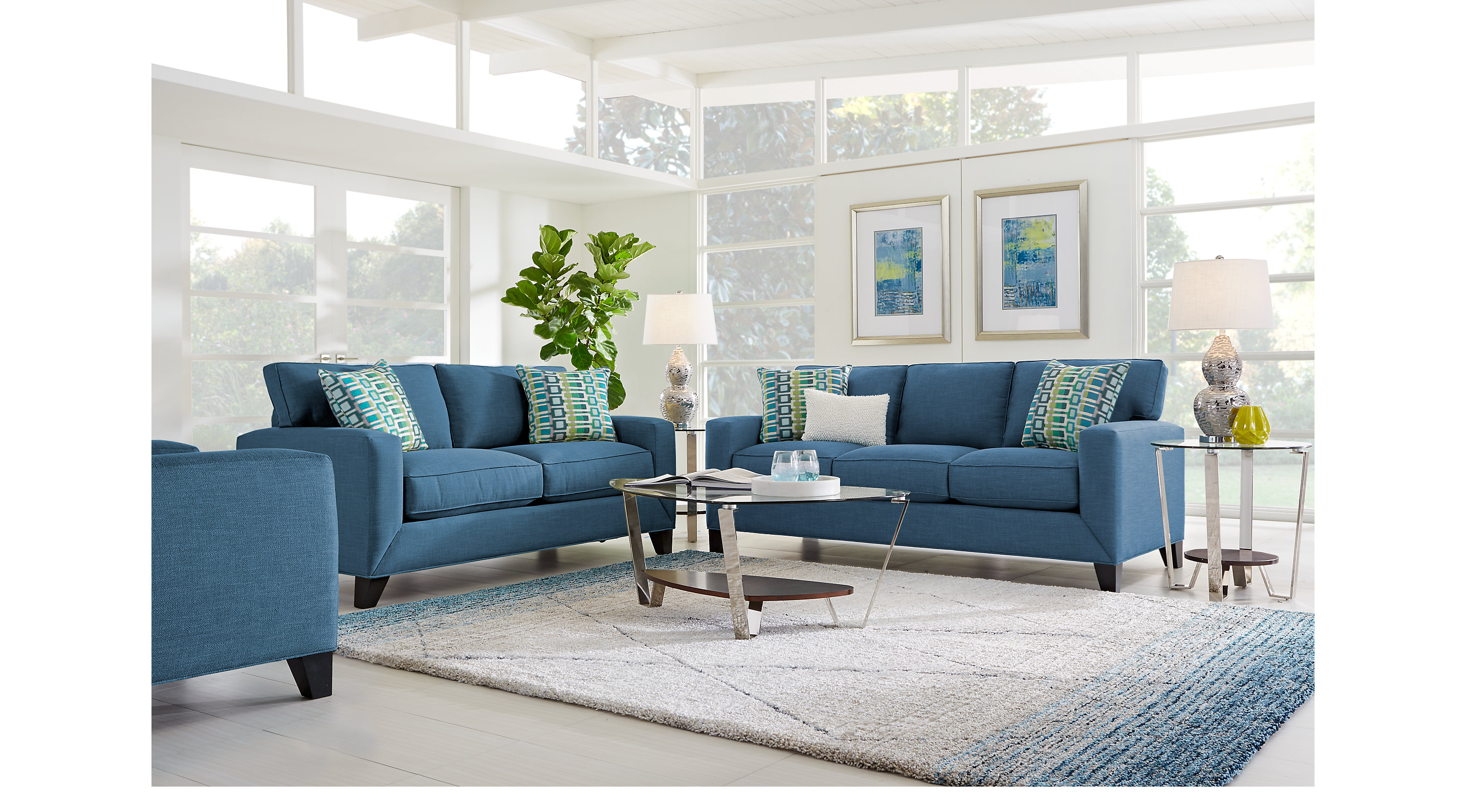1 577 00 Delancey Denim Indigo 5 Pc Living Room Classic Contemporary Textured
