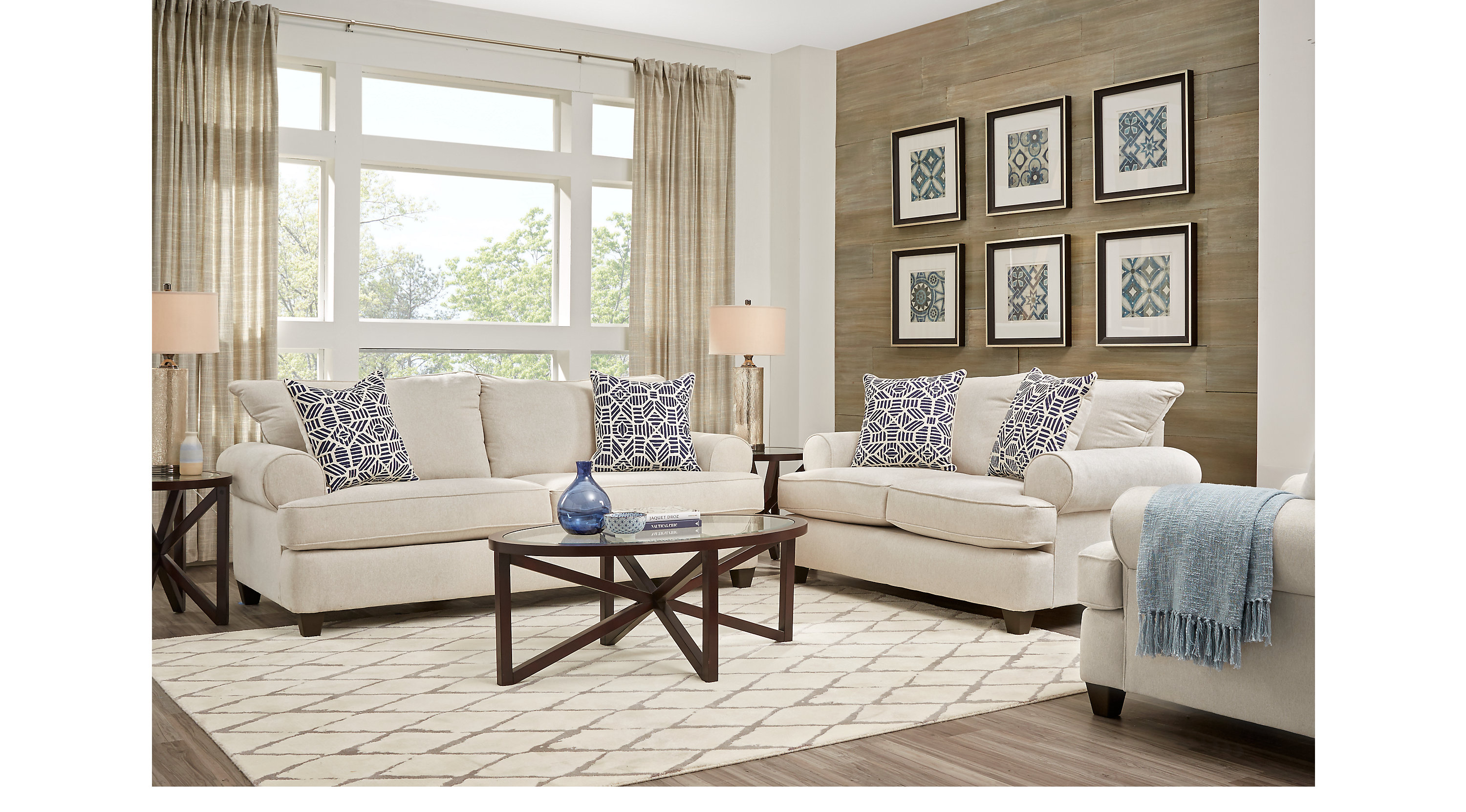 1 179 99 Emsworth Beige 7 Pc Living Room Classic Casual Textured