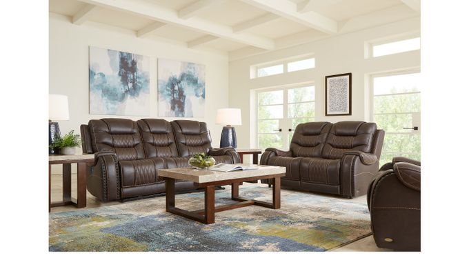 Eric Church Highway To Home Headliner Brown Leather 5 Pc Living Room - Classic - Contemporary,