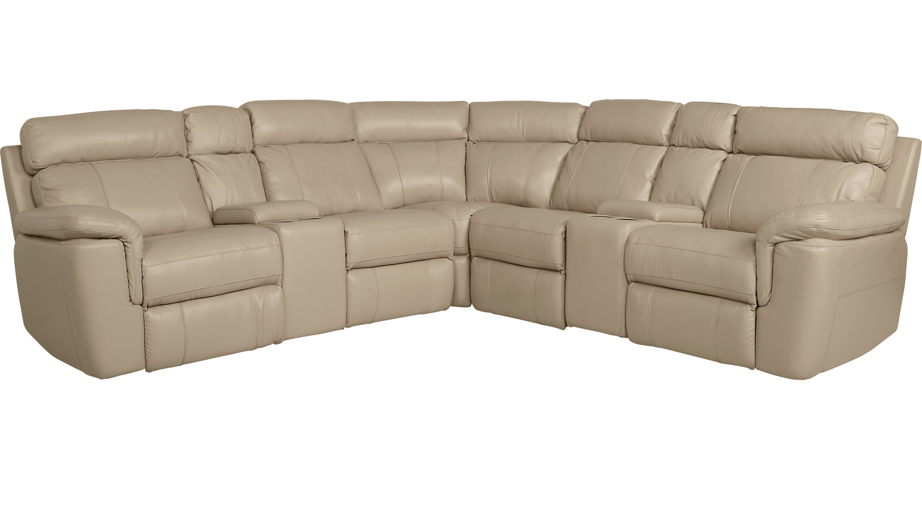 Hudson Square Sand Leather 7 Pc Reclining Sectional