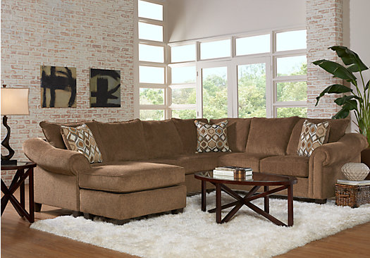 Lago Vista Chocolate 5 Pc Sectional Living Room Part 84