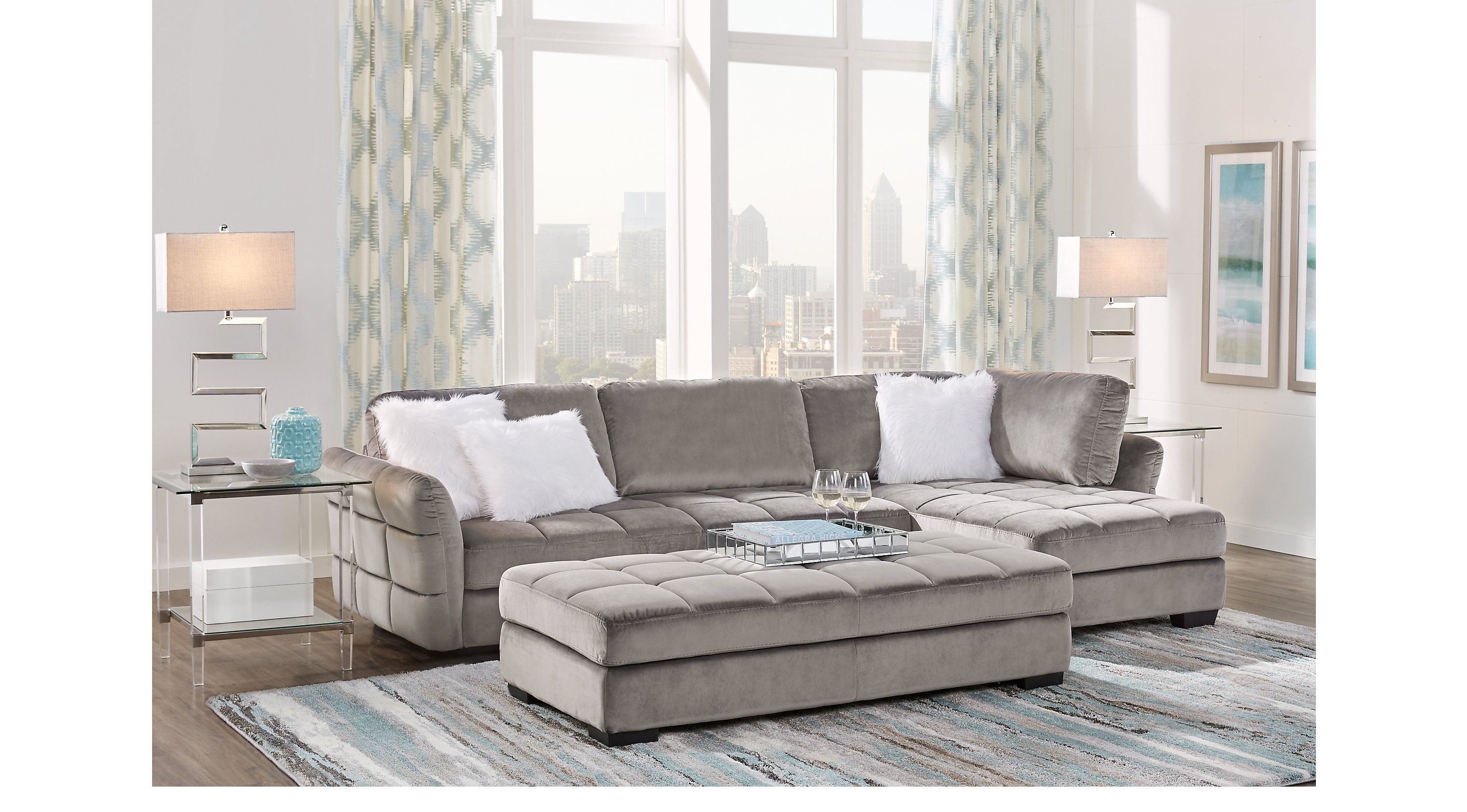 $1,149.99 - Largo Drive Gray 3 Pc Sectional Living Room ...