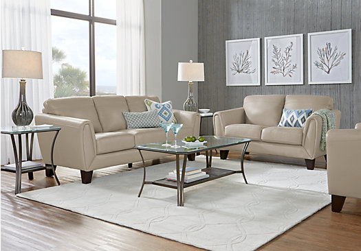 1 888 00 Livorno Beige Leather 3 Pc Living Room