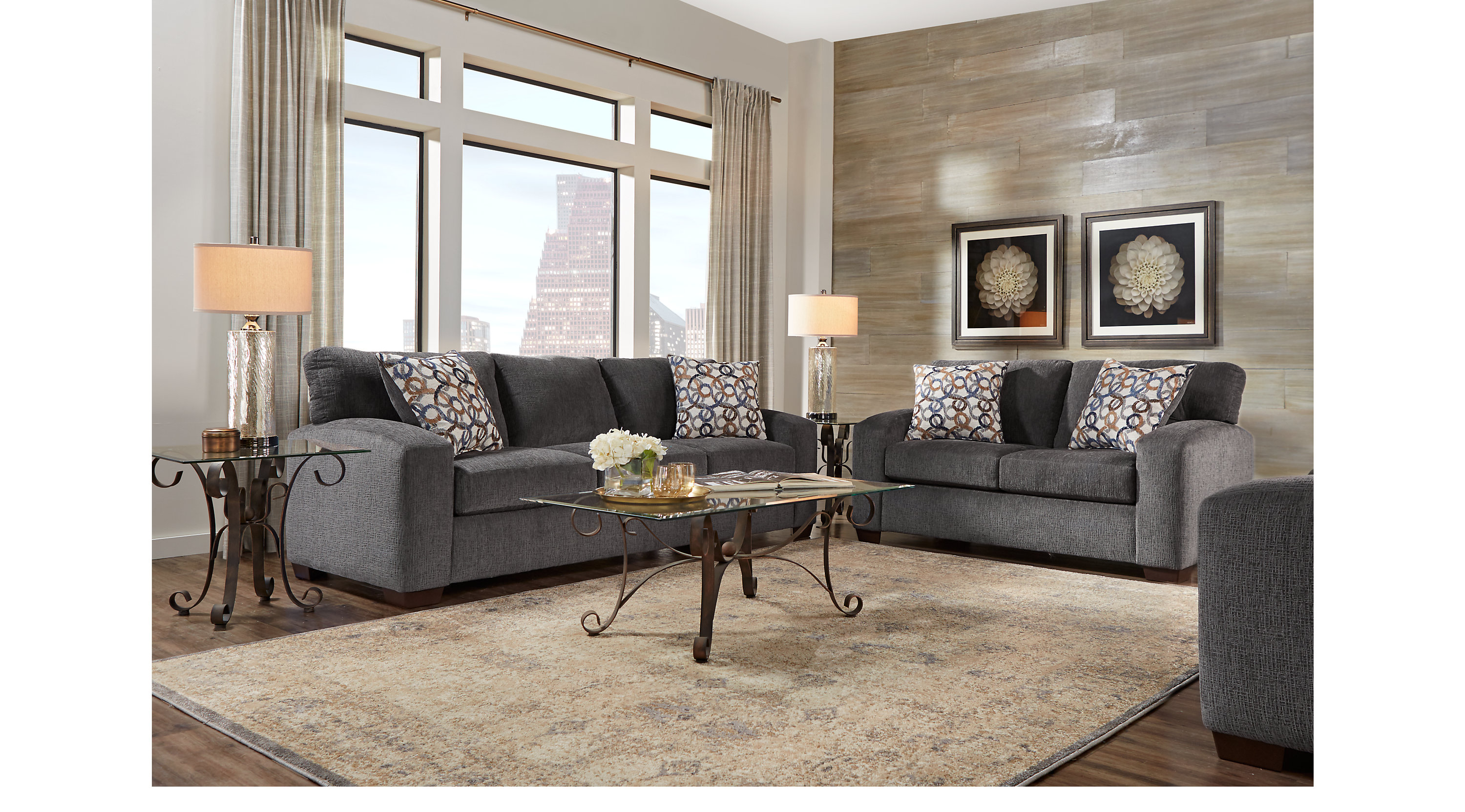 1 099 99 Lucan Gray 5 Pc Living Room Classic Casual Textured