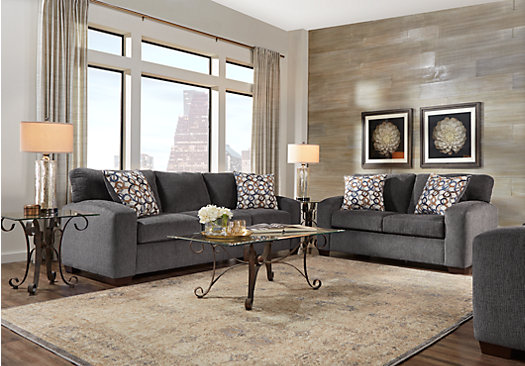 1 Lucan Gray 5 Pc Living Room Classic Casual Textured