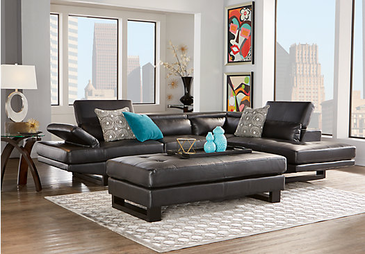 $1,349.99   Nagoya Black 3 Pc Sectional Living Room   Contemporary,  Synthetic