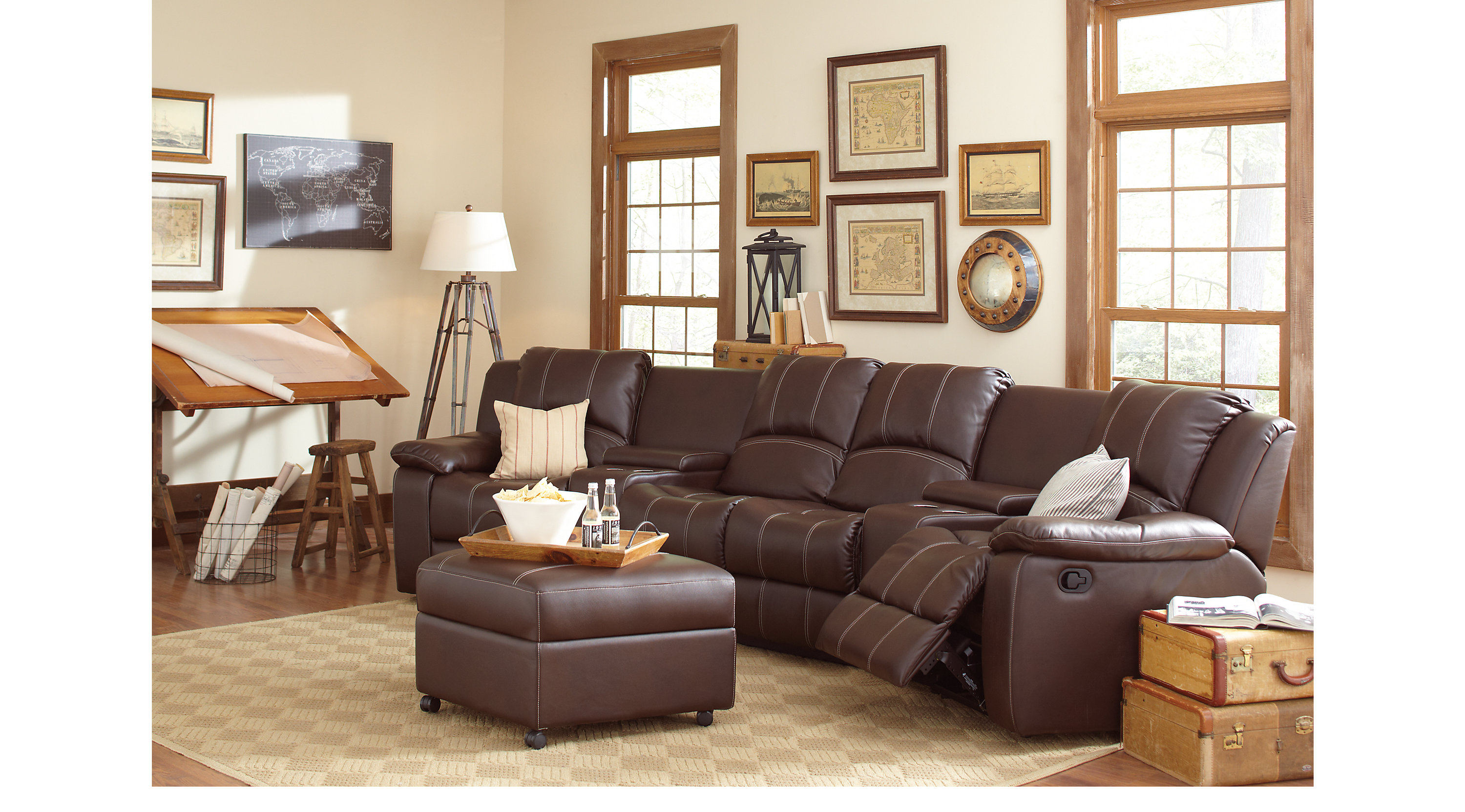 1 san angelo brown 6 pc reclining sectional for 6 piece living room set