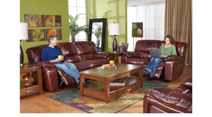 Sand (beige) erson Mahogany (reddish brown)  Leather 3 Pc Reclining Living Room - Contemporary,