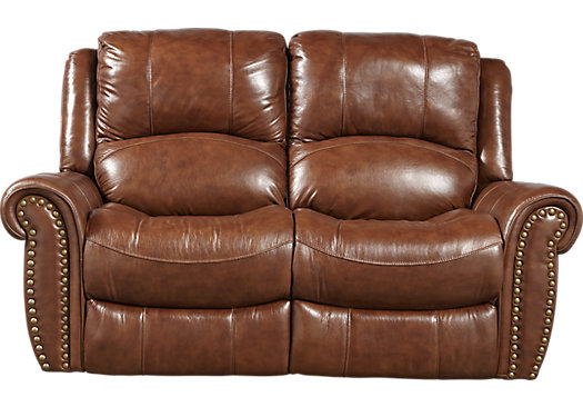 Abruzzo Brown Leather Power Reclining Loveseat