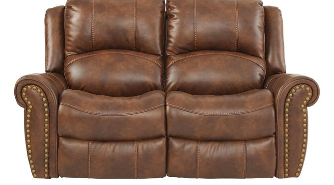 Alden Point Brown Reclining Loveseat - Traditional, Polyester