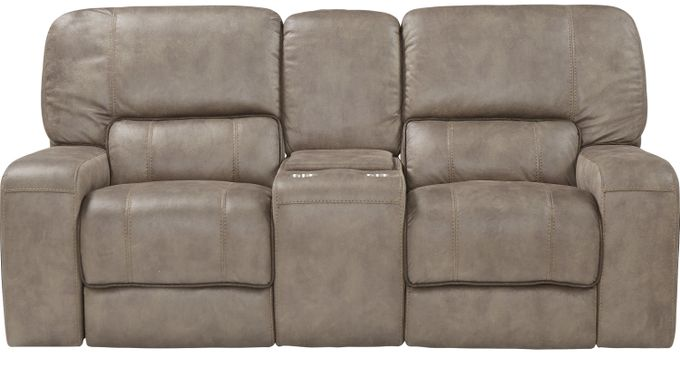 Bluff Springs Brown Power Reclining Console Loveseat - Contemporary, Polyester