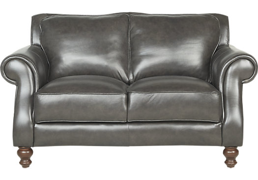 Carpinteria Gray Leather Loveseat