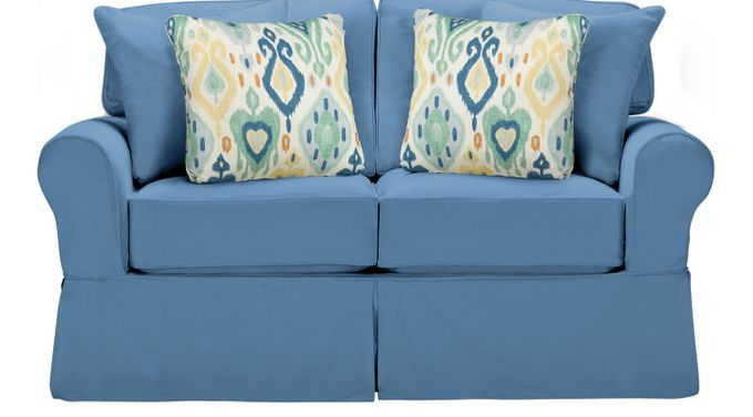 Beachside Blue Loveseat - Classic - Casual, Cotton