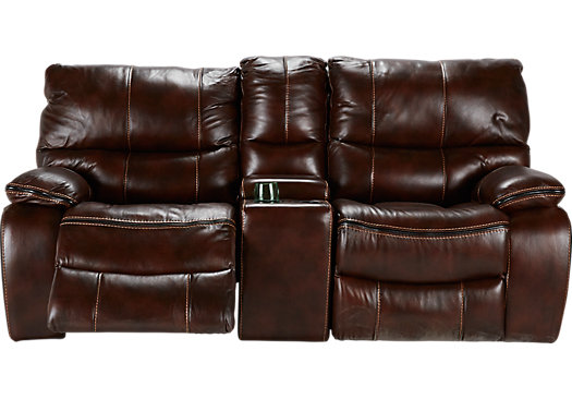 Gianna Brown Leather Reclining Console Loveseat - Contemporary,