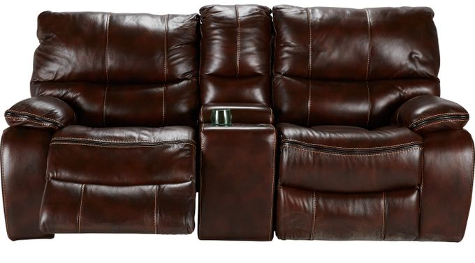 Gianna Brown Leather Reclining Glider Console Loveseat - Contemporary,
