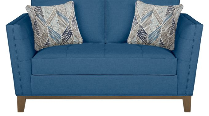 Park Boulevard Blue Loveseat - Classic - Contemporary, Textured