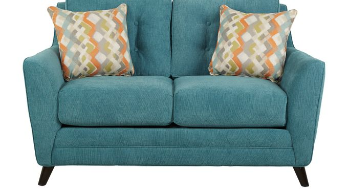 Parkview Teal Loveseat - Classic - Contemporary, Textured