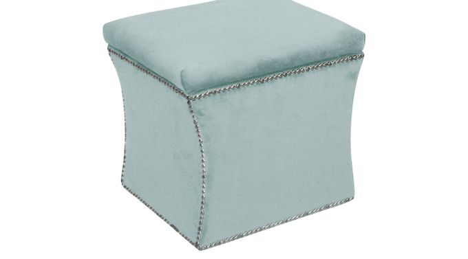 Outstanding Ottomans Rooms To Go Arielle Square Blue Storage Ottoman 30184965 Machost Co Dining Chair Design Ideas Machostcouk