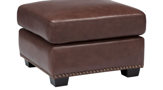 Balencia Dark Brown Leather Ottoman - Traditional,