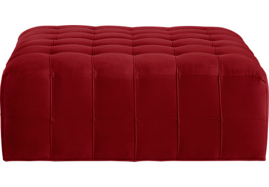 Calvin Heights Cardinal Cocktail Ottoman - Contemporary, Microfiber