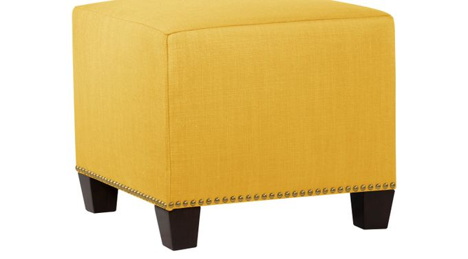 Delana Yellow Ottoman - Contemporary, Linen
