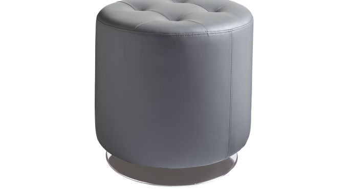 Domani Graphite (black)  Small Ottoman - Swivel - Contemporary, Synthetic