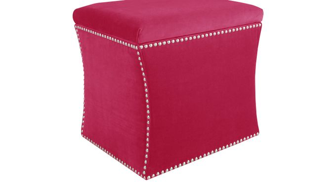 Vallie Raspberry (deep pink)  Storage Ottoman - Contemporary, Polyester