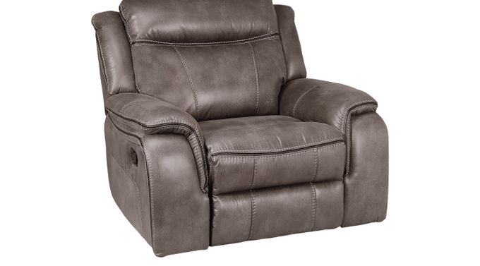 Barton Springs Gray Glider Recliner - Contemporary, Polyester