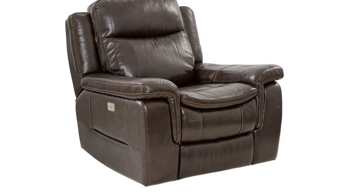 Milano Brown Leather Power Plus Recliner - Reclining - Contemporary,