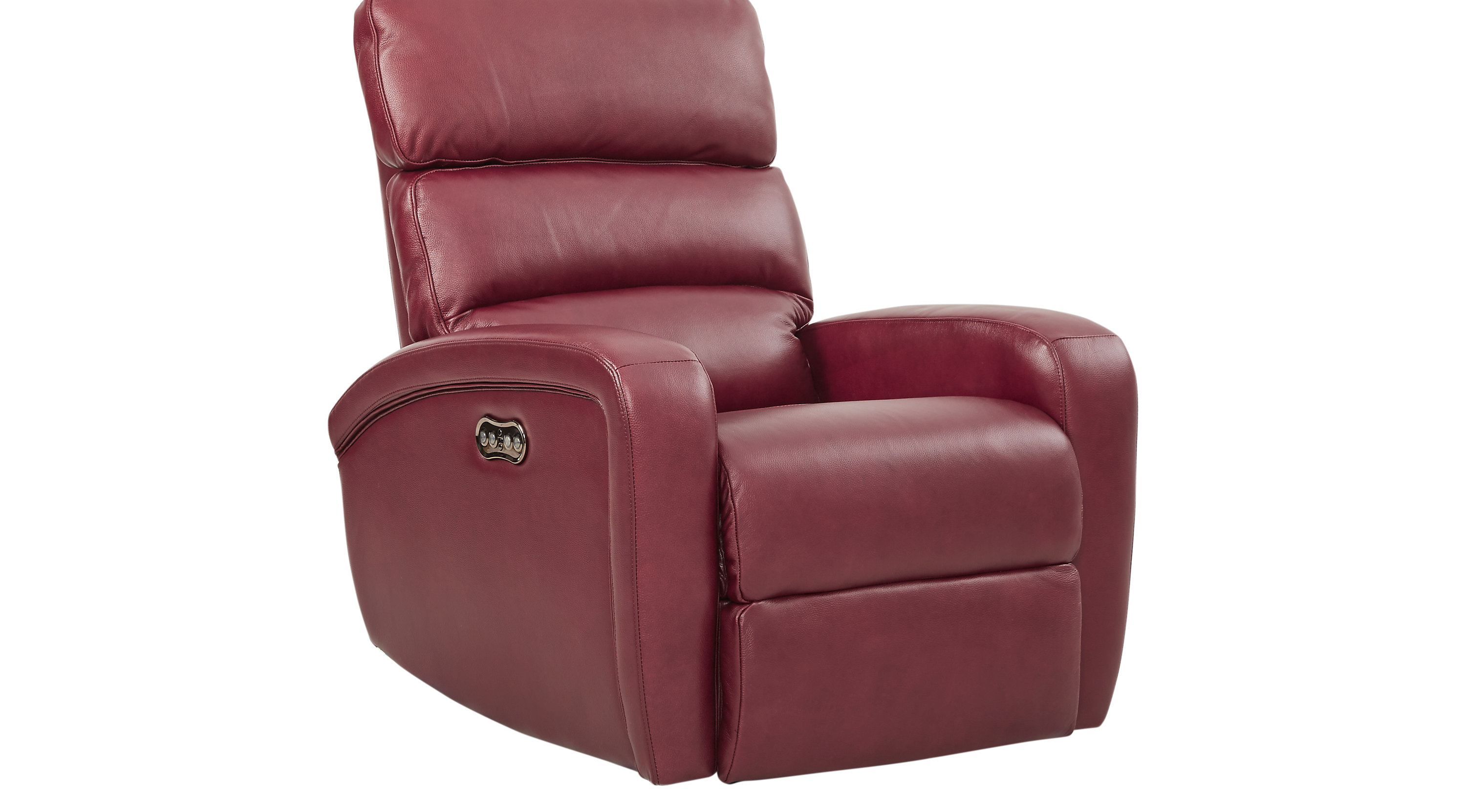 649 99 Overtown Burgundy Leather Power Recliner