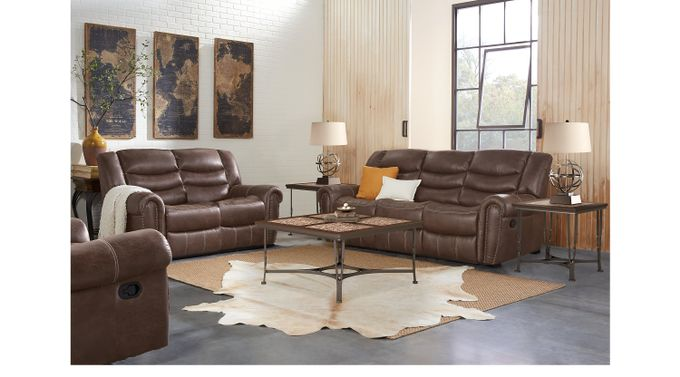 Beckley Brown 5 Pc Living Room with Reclining Sofa - Contemporary, Polyester