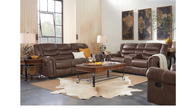 Beckley Brown 5 Pc Reclining Living Room - Contemporary, Polyester