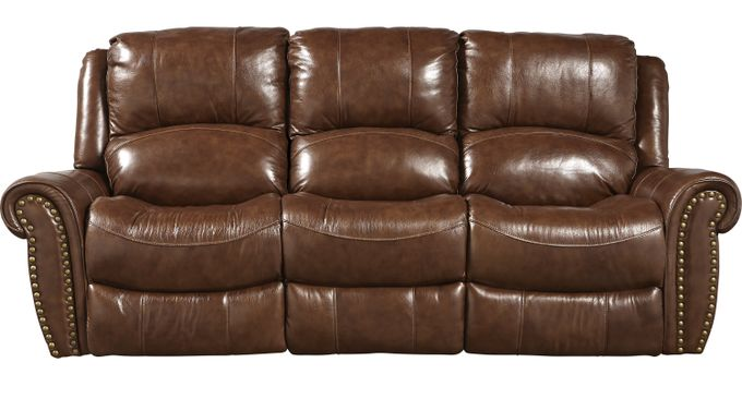 Abruzzo Brown Leather Power Reclining Sofa - Traditional,