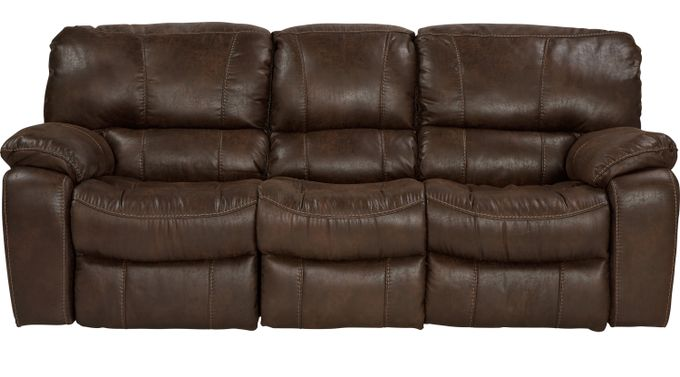 Alpen Ridge Brown Power Reclining Sofa - Contemporary, Microfiber