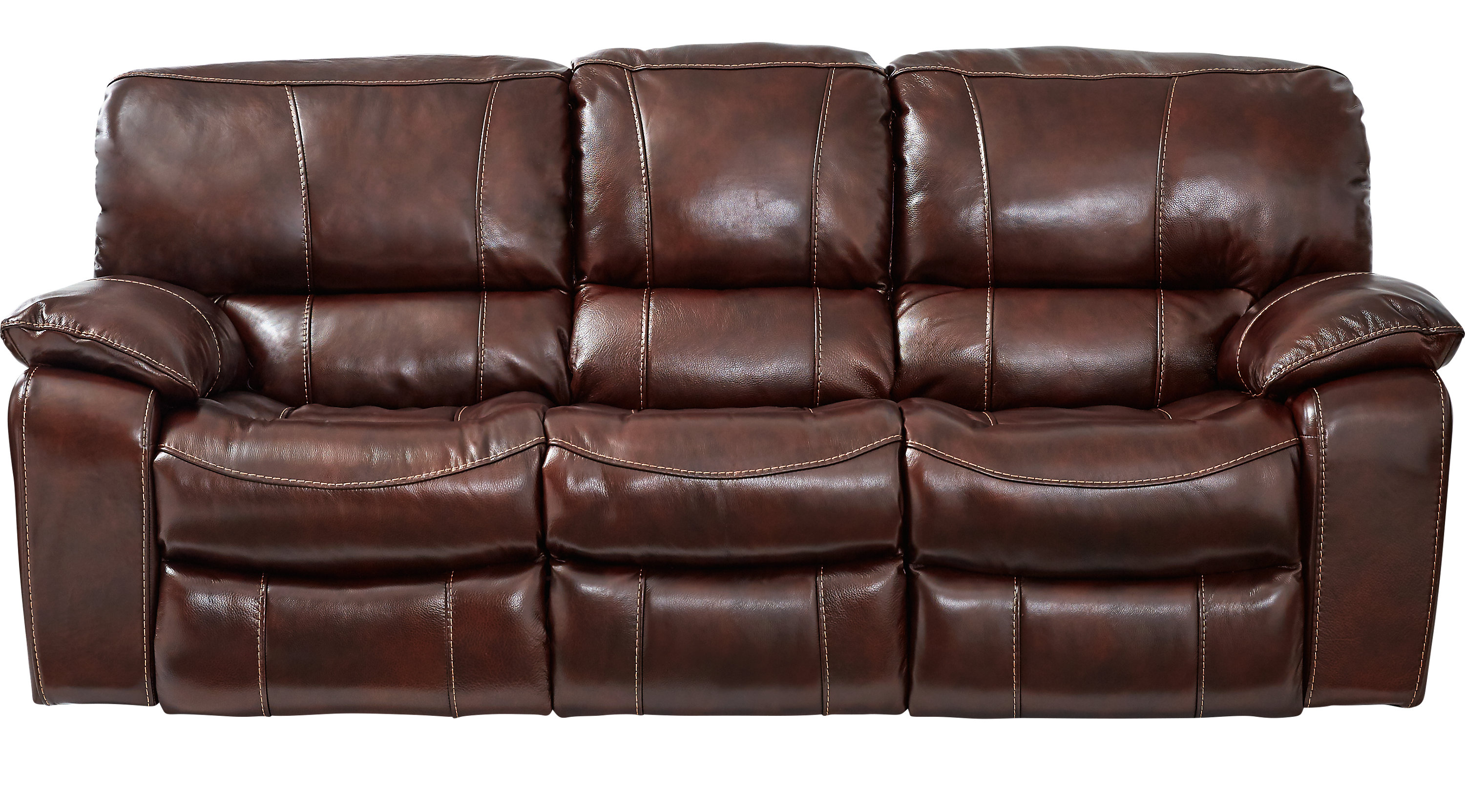 Sanderson Mahogany Leather Reclining Sofa