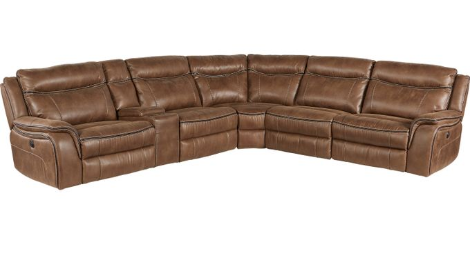 Barton Springs Brown 6 Pc Sectional - Reclining - Contemporary, Polyester
