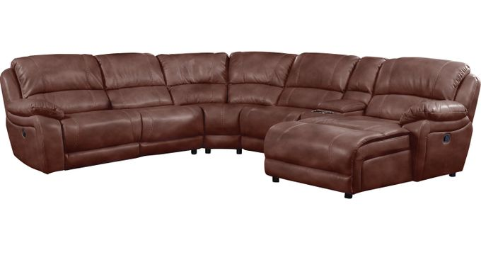 Breckenridge Hills Mahogany (reddish brown)  6 Pc Reclining Sectional - Contemporary, Polyester