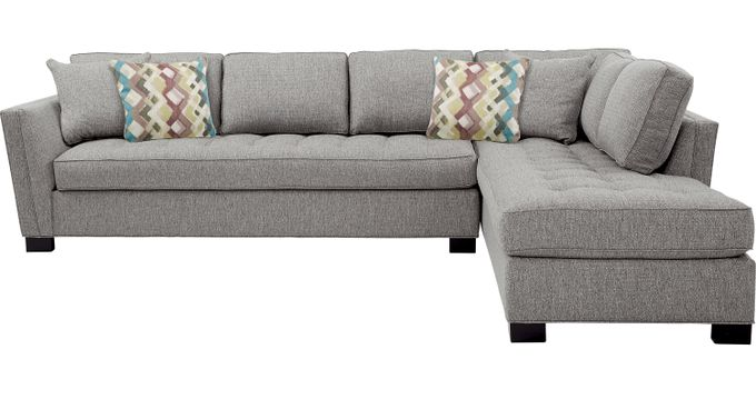 Calvin Heights Gray 2 Pc XL Sectional - Contemporary, Textured