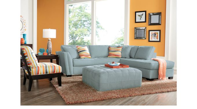 Calvin Heights Hydra (Sky (light blue)  blue)  3 Pc Sectional Living Room - Contemporary, Microfiber