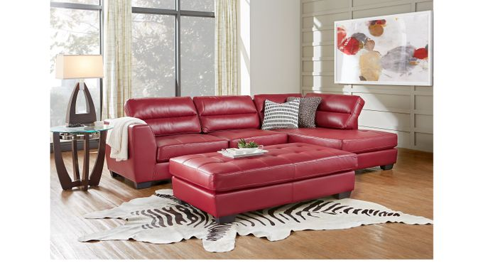 Congress Street Red 3 Pc Sectional Living Room - Contemporary, Synthetic
