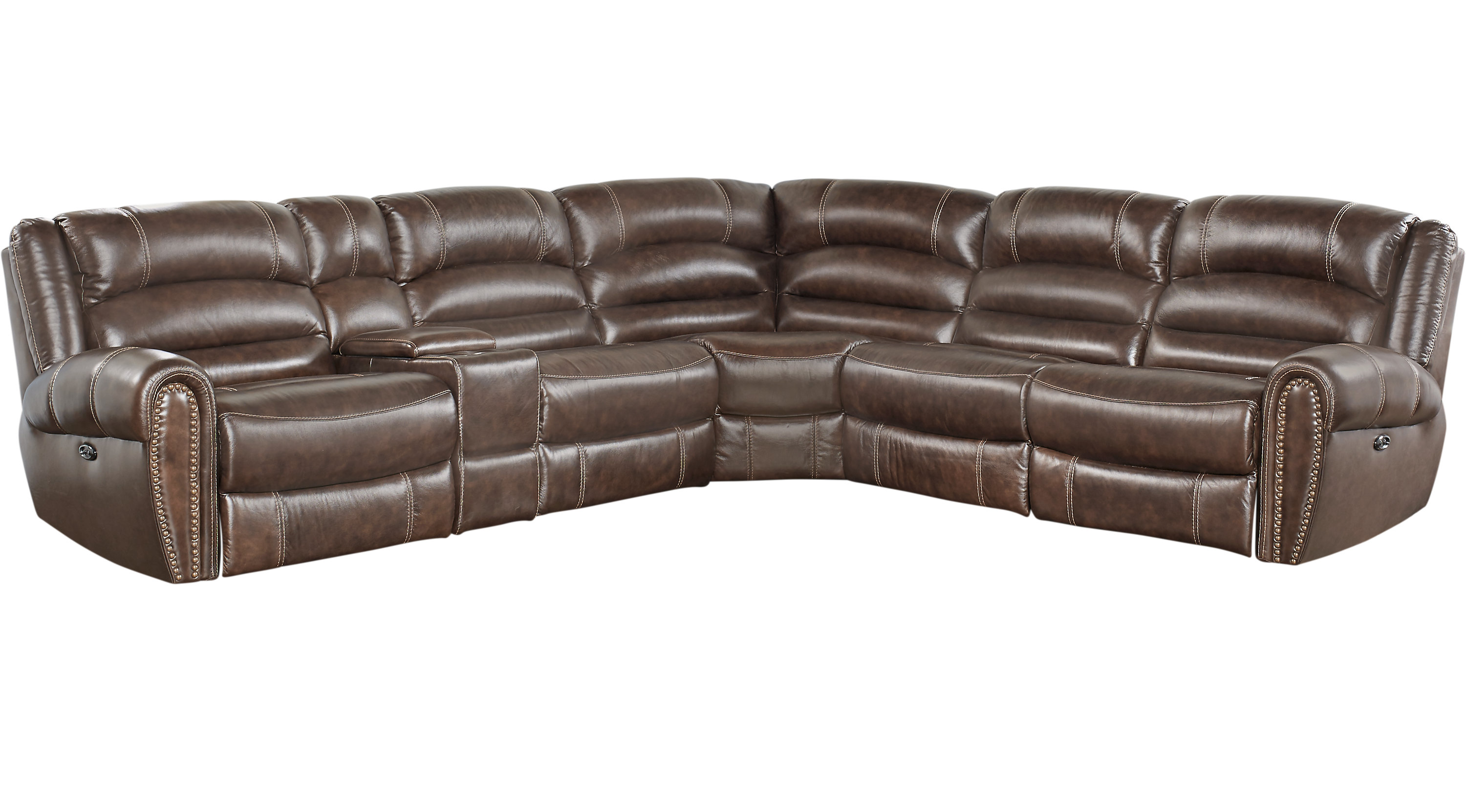 Donelle Brown Leather 6 Pc Power Reclining Sectional  sc 1 st  Furniture.com : l shaped leather sectional - Sectionals, Sofas & Couches