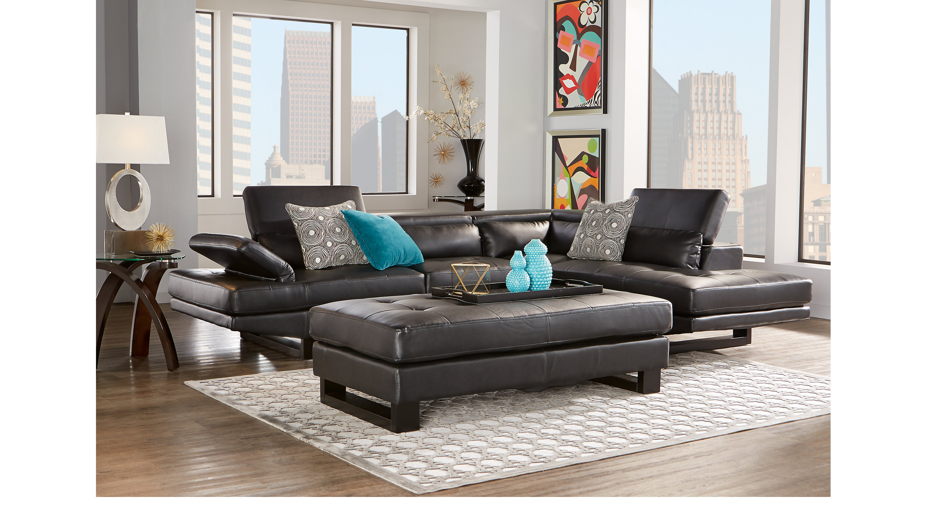 Shiloh Black 3 Pc Sectional Living Room