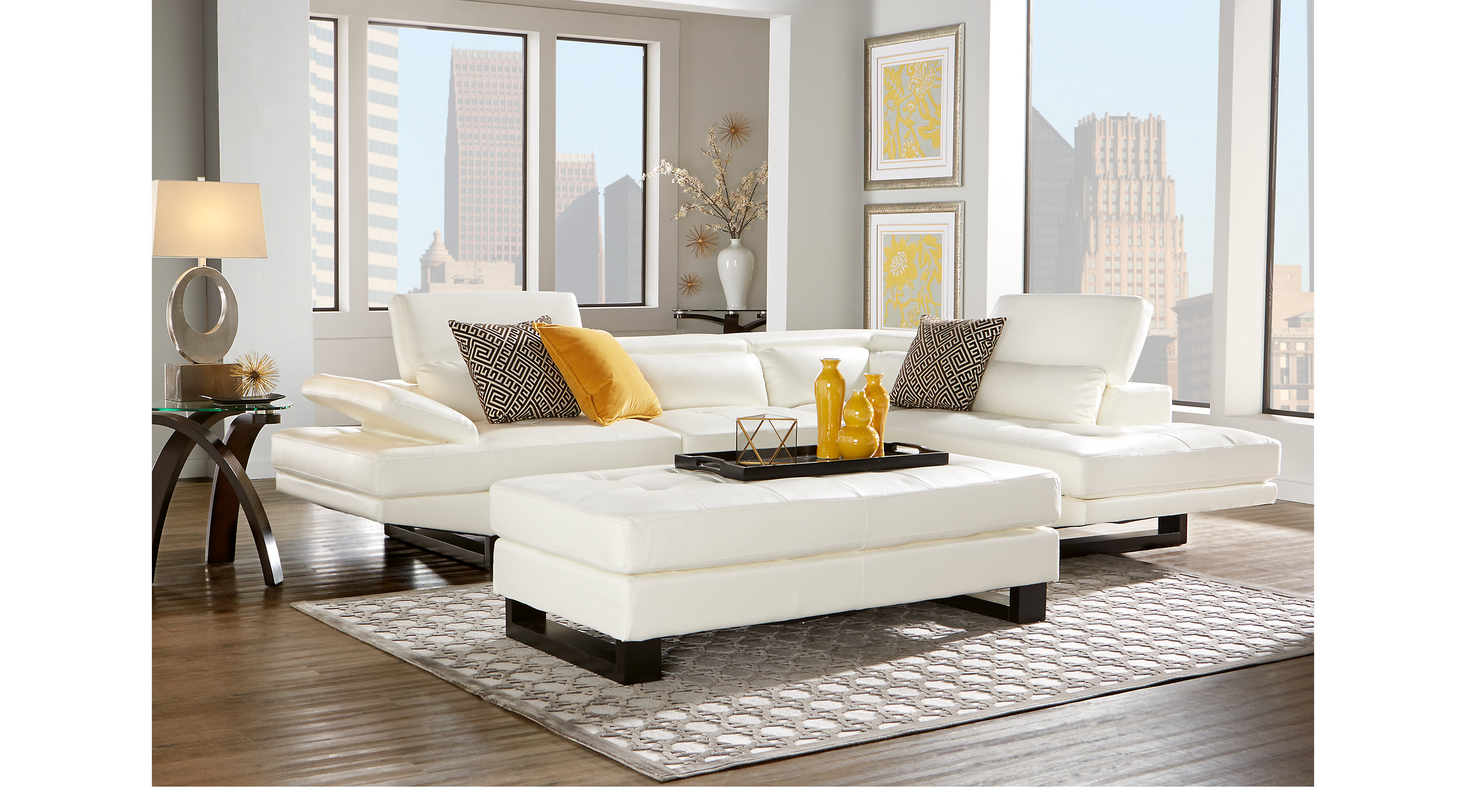$1,449.99 - Shiloh White 4 Pc Sectional Living Room - Contemporary ...